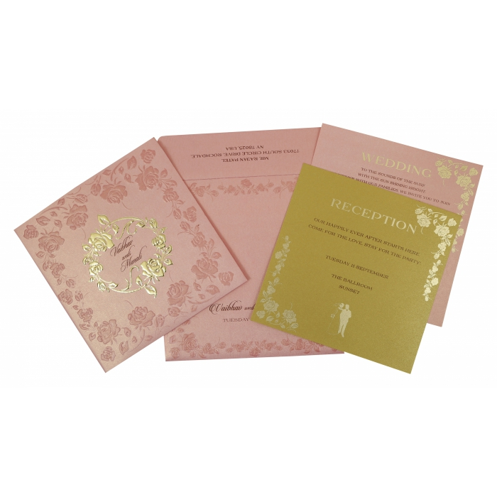 BABY PINK SHIMMERY FLORAL THEMED - FOIL STAMPED WEDDING INVITATION : AIN-1787 - A2zWeddingCards
