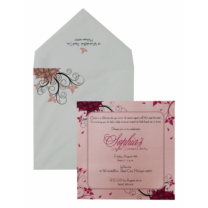Pink Shimmery Floral Themed - Screen Printed Wedding Invitation : APY-891