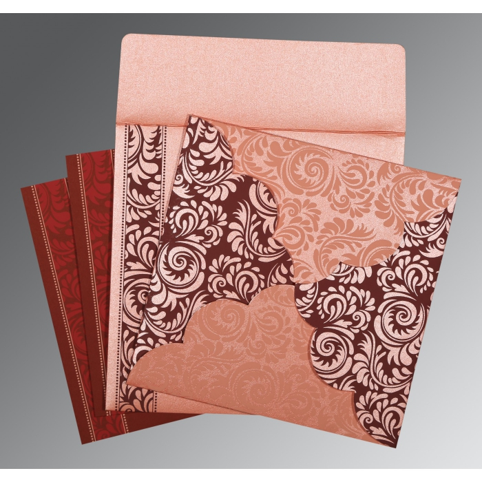 Pink Shimmery Floral Themed - Screen Printed Wedding Card : AD-8235D - A2zWeddingCards