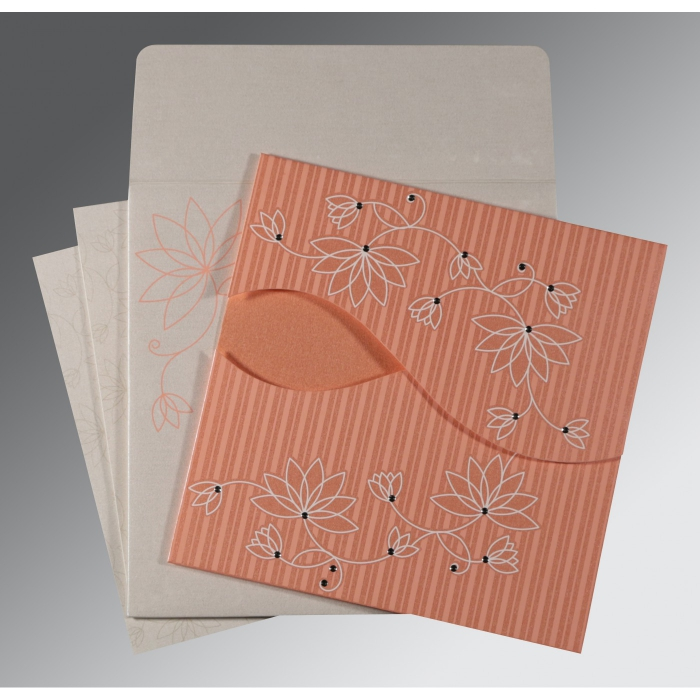 CORAL SHIMMERY FLORAL THEMED - SCREEN PRINTED WEDDING INVITATION : AG-8251I - A2zWeddingCards