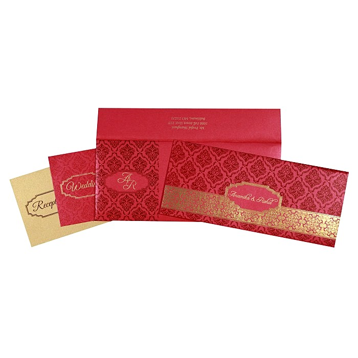 Pink Shimmery Paisley Themed - Foil Stamped Wedding Invitations : AIN-1758 - A2zWeddingCards