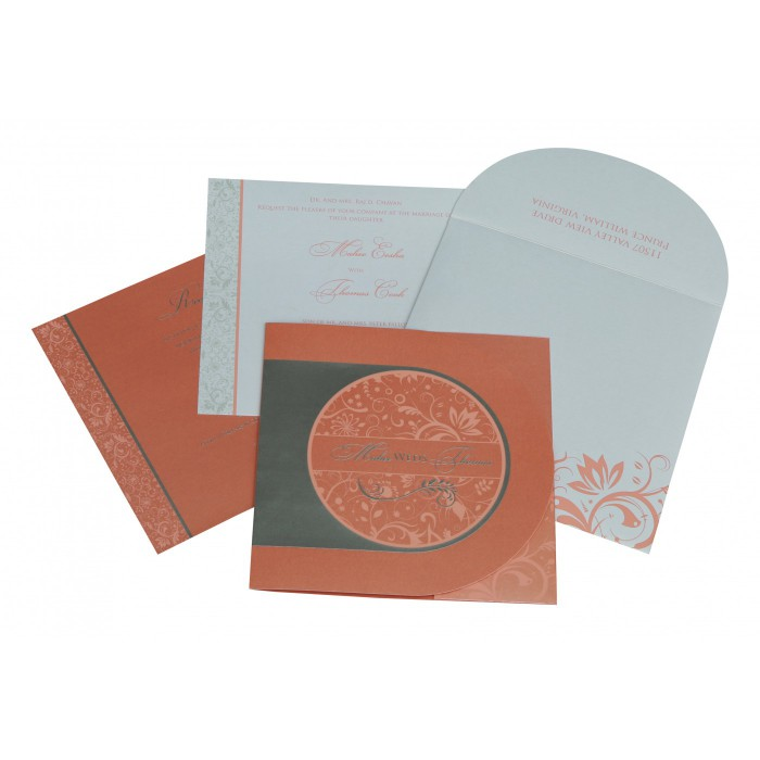 STRONG RED ORANGE SHIMMERY FLORAL THEMED - SCREEN PRINTED WEDDING CARD : AG-8264A - A2zWeddingCards