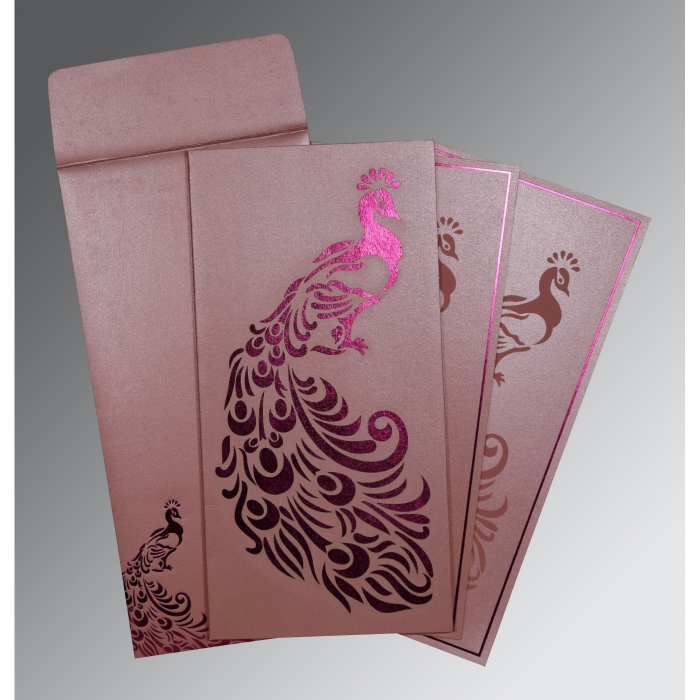 Pink Shimmery Peacock Themed - Laser Cut Wedding Invitation : AD-8255B - A2zWeddingCards