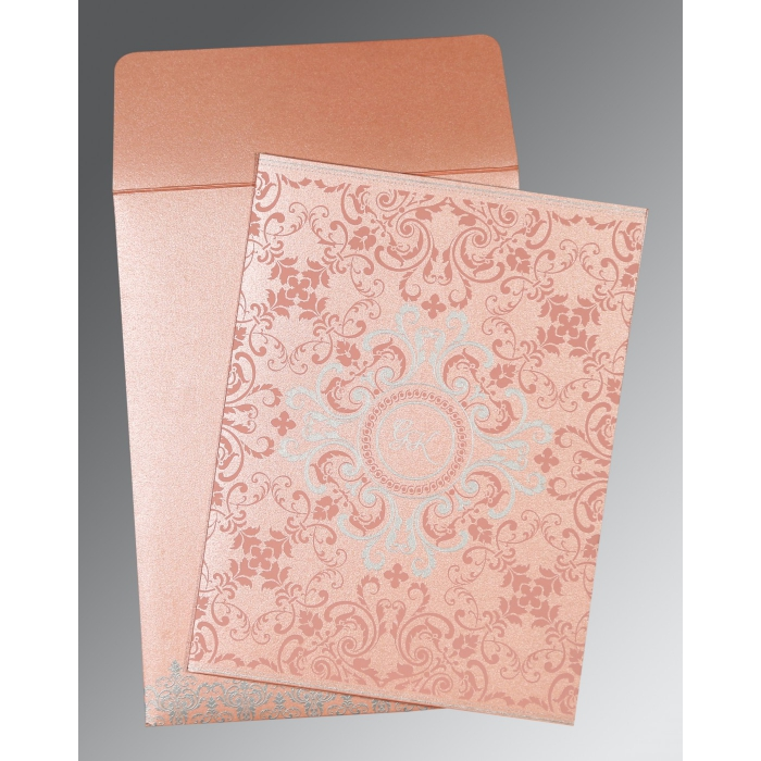 Pink Shimmery Screen Printed Wedding Invitations : AG-8244A - A2zWeddingCards