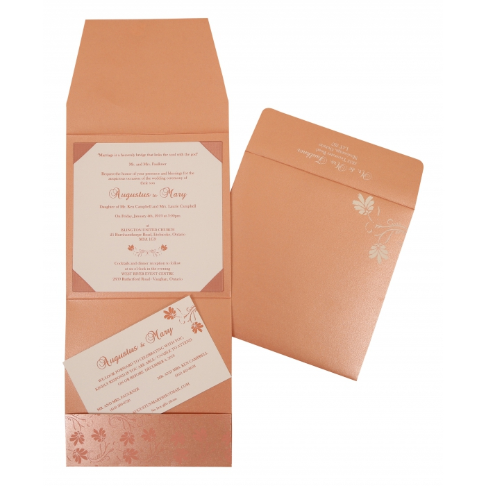 SALMON SHIMMERY SCREEN PRINTED WEDDING INVITATION : AI-803C - A2zWeddingCards
