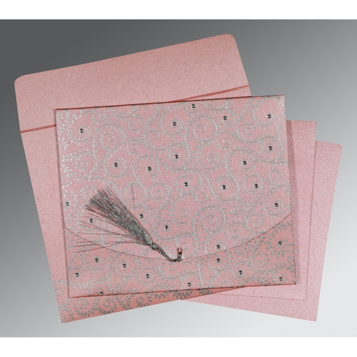 Pink Shimmery Screen Printed Wedding Invitations : AS-8217E - A2zWeddingCards
