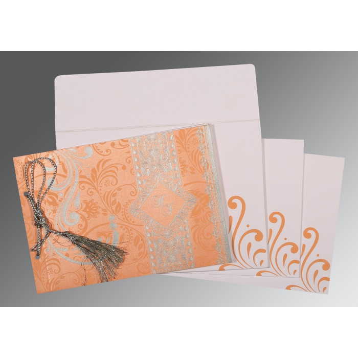 SWEET NECTAR SHIMMERY SCREEN PRINTED WEDDING CARD : ASO-8223N - A2zWeddingCards