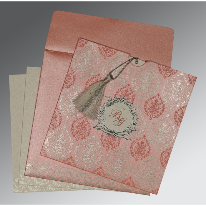 Pink Shimmery Unique Themed - Foil Stamped Wedding Card : AG-8249H - A2zWeddingCards