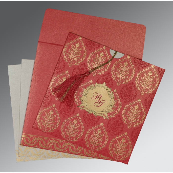 BRICK RED SHIMMERY UNIQUE THEMED - FOIL STAMPED WEDDING CARD : ARU-8249K - A2zWeddingCards
