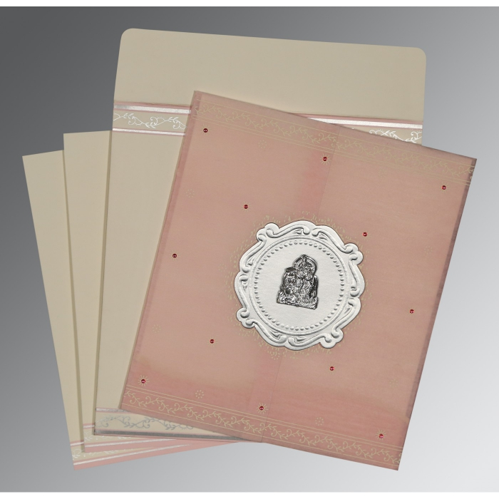 Pink Wooly Embossed Wedding Invitations : AG-8202P - A2zWeddingCards