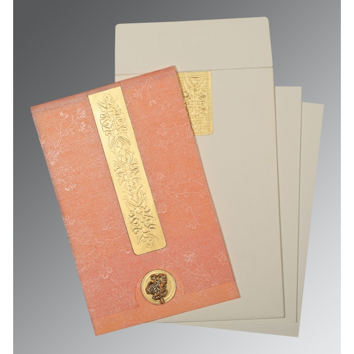 SALMON SHIMMERY EMBOSSED WEDDING INVITATION : AI-1221 - A2zWeddingCards