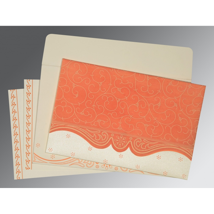 PEACH MATTE EMBOSSED WEDDING INVITATION : ARU-8221B - A2zWeddingCards