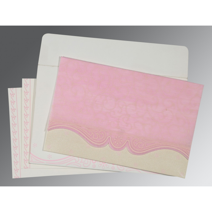 PINK MATTE EMBOSSED WEDDING INVITATION : ARU-8221M - A2zWeddingCards