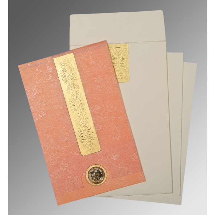 SALMON SHIMMERY EMBOSSED WEDDING INVITATION : AS-1221 - A2zWeddingCards