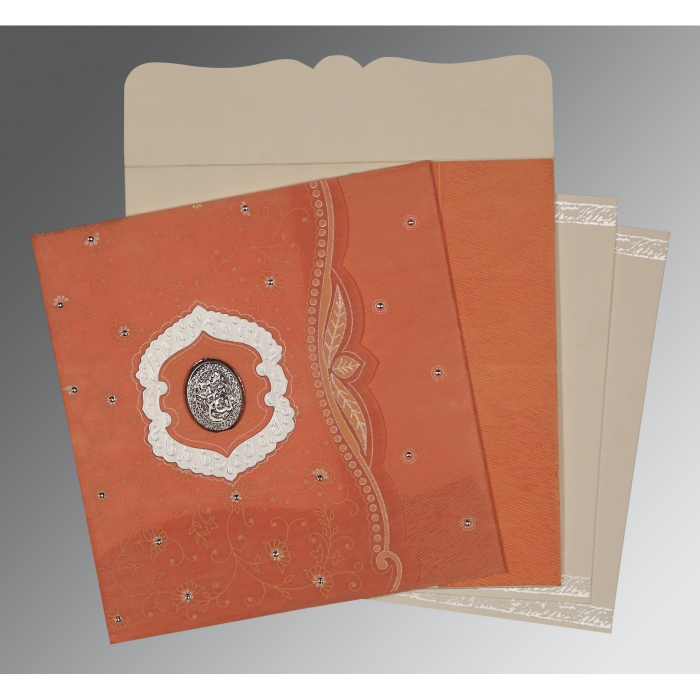 ORANGE SHIMMERY FLORAL THEMED - EMBOSSED WEDDING CARD : AI-8209A - A2zWeddingCards