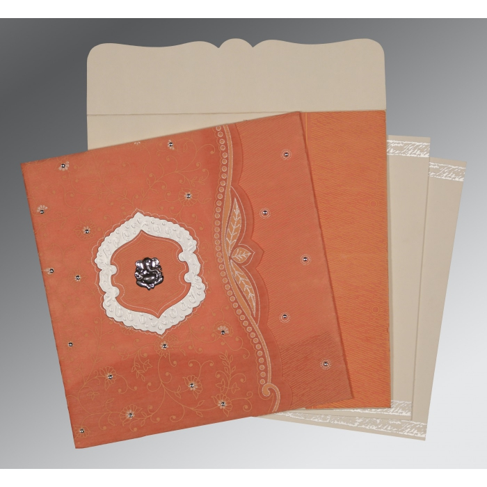 ORANGE SHIMMERY FLORAL THEMED - EMBOSSED WEDDING CARD : AIN-8209A - A2zWeddingCards