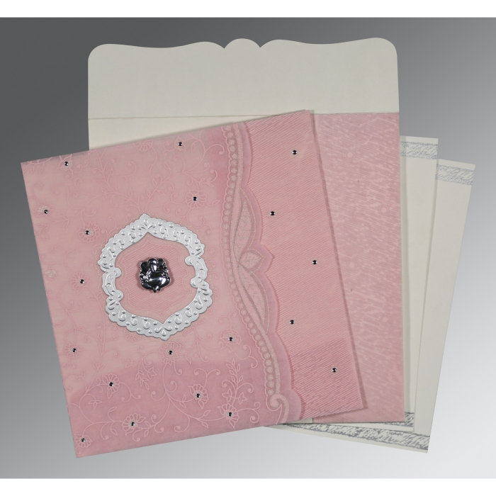 Pink Wooly Floral Themed - Embossed Wedding Card : AW-8209H - A2zWeddingCards