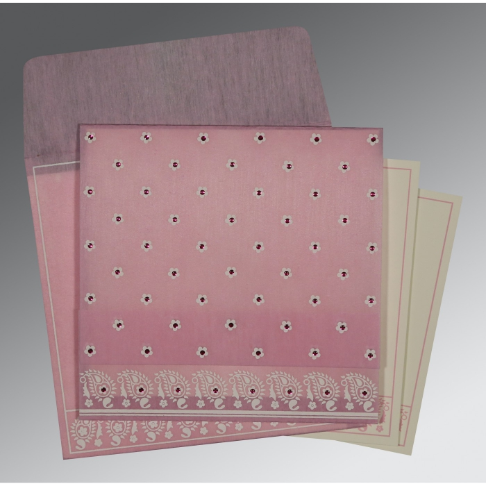 Pink Wooly Floral Themed - Screen Printed Wedding Card : AD-8218J - A2zWeddingCards