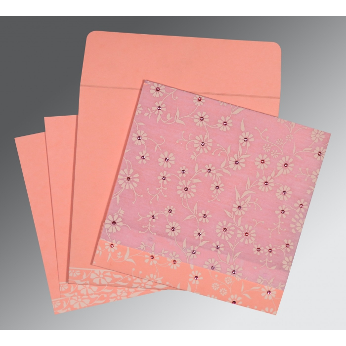 Pink Wooly Floral Themed - Screen Printed Wedding Card : AG-8222E - A2zWeddingCards