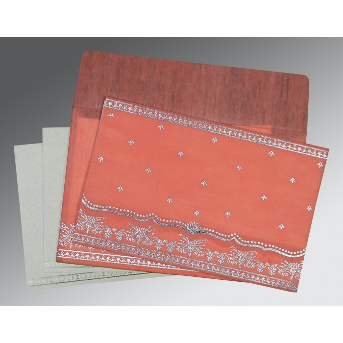 CORAL WOOLY FOIL STAMPED WEDDING INVITATION : AIN-8241G - A2zWeddingCards