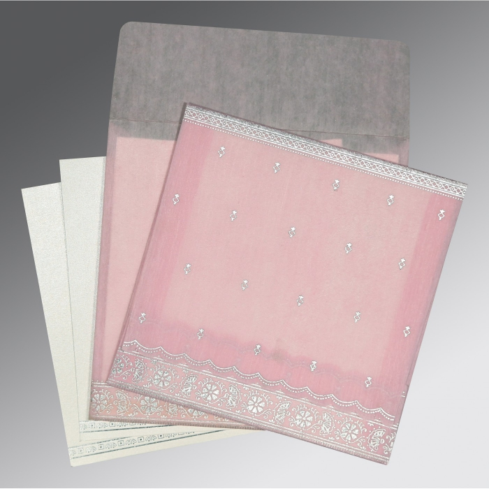 BABY PINK WOOLY FOIL STAMPED WEDDING CARD : AS-8242N - A2zWeddingCards