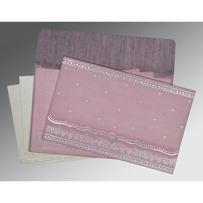 BABY PINK WOOLY FOIL STAMPED WEDDING INVITATION : AW-8241E - A2zWeddingCards