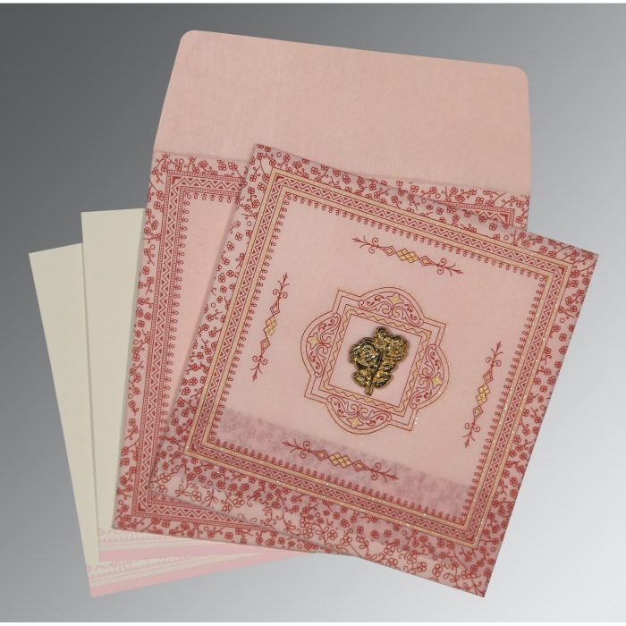 Pink Wooly Glitter Wedding Card : AI-8205J - A2zWeddingCards