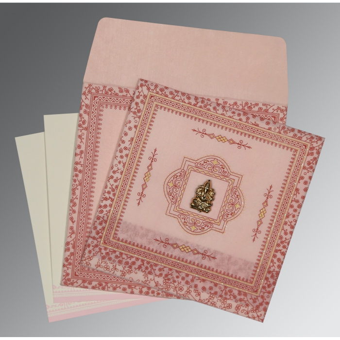 PINK WOOLY GLITTER WEDDING CARD : AIN-8205J - A2zWeddingCards
