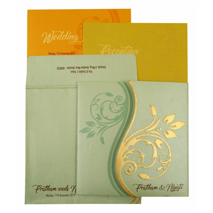 PISTA GREEN SHIMMERY FLORAL THEMED - EMBOSSED WEDDING INVITATION : ASO-1901 - A2zWeddingCards