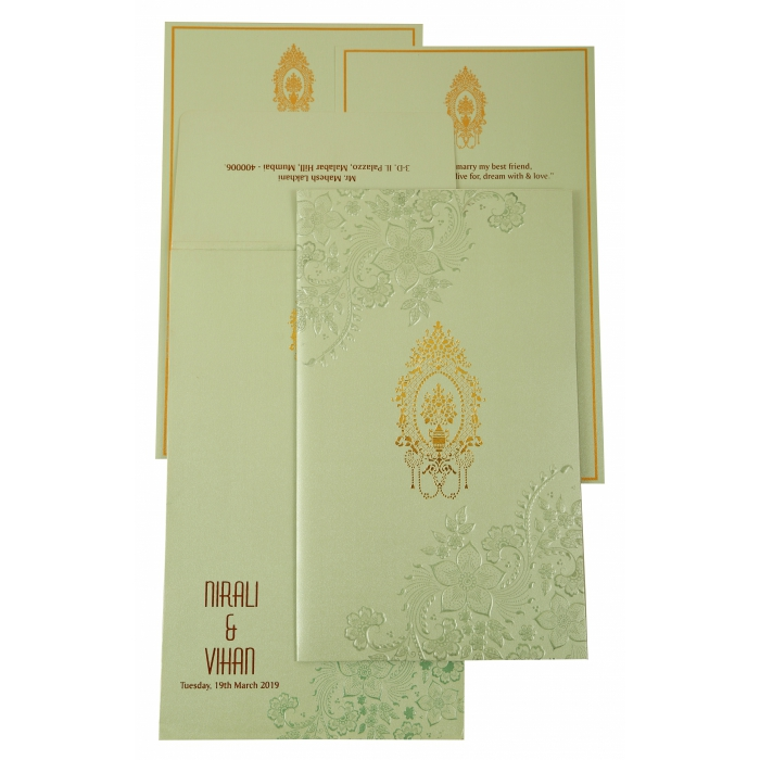 Pista Green Shimmery Floral Themed - Foil Stamped Wedding Invitation : AD-1905 - A2zWeddingCards