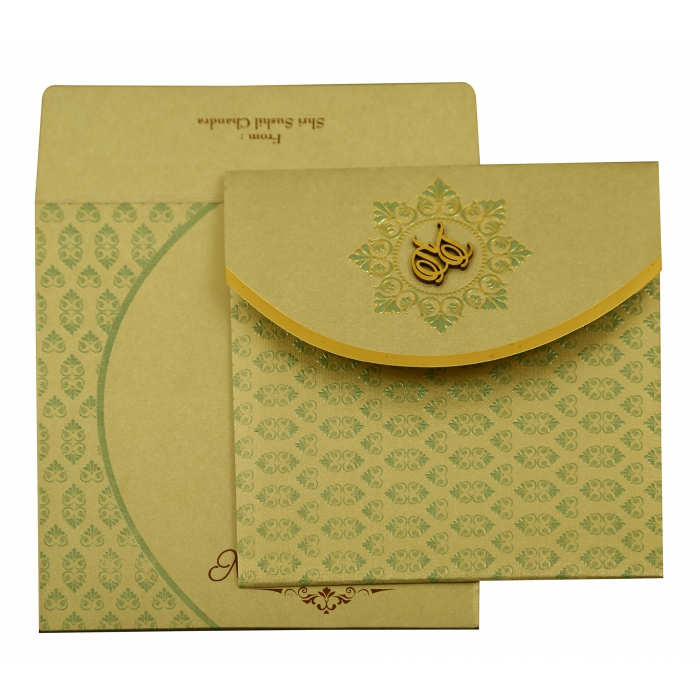 PISTA GREEN SHIMMERY FLORAL THEMED - FOIL STAMPED WEDDING INVITATION : AIN-1915 - A2zWeddingCards