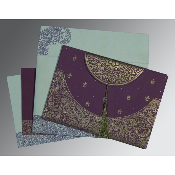 PURPLE HANDMADE COTTON EMBOSSED WEDDING CARD : AIN-8234D - A2zWeddingCards