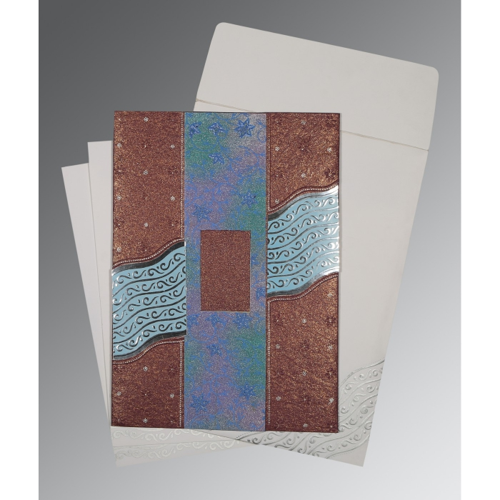 BROWN HANDMADE SHIMMER FOIL STAMPED WEDDING CARD : AD-1375 - A2zWeddingCards