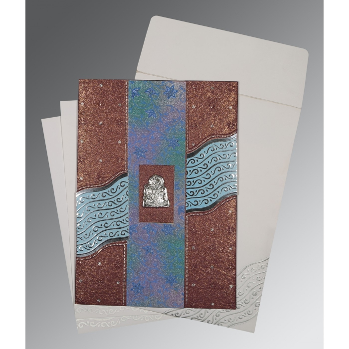 BROWN HANDMADE SHIMMER FOIL STAMPED WEDDING CARD : AG-1375 - A2zWeddingCards