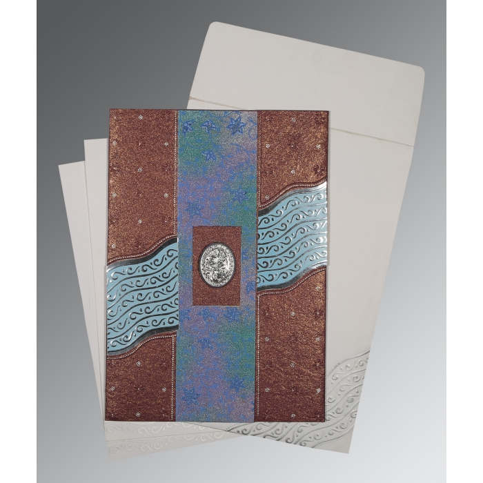 Purple Handmade Shimmer Foil Stamped Wedding Card : AI-1375 - A2zWeddingCards