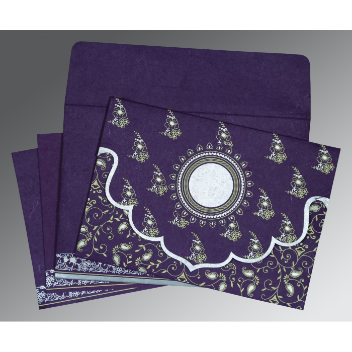 Purple Handmade Silk Screen Printed Wedding Invitations : AD-8207G - A2zWeddingCards