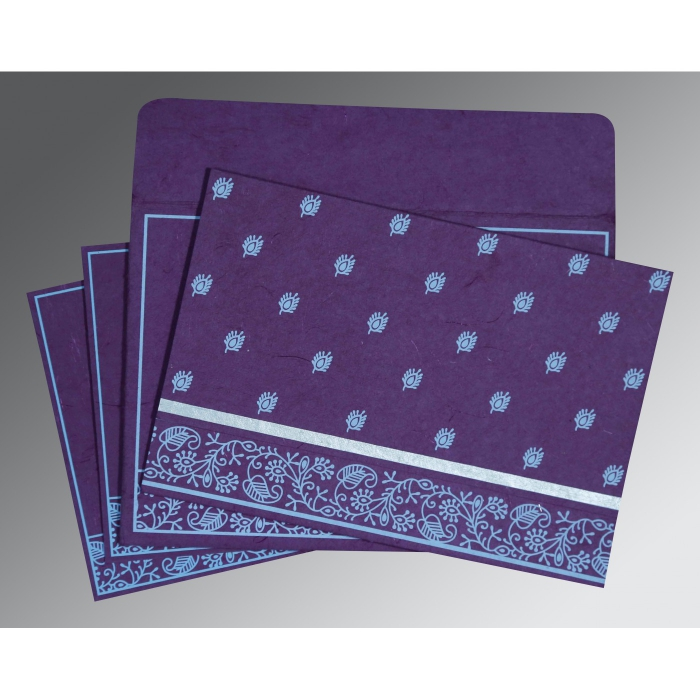 PURPLE HANDMADE SILK SCREEN PRINTED WEDDING CARD : AS-8215G - A2zWeddingCards