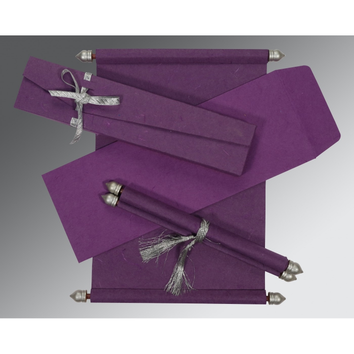 PURPLE HANDMADE SILK WEDDING CARD : ASC-5001K - A2zWeddingCards