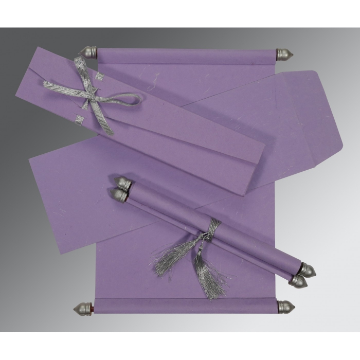 LAVENDER PURPLE HANDMADE SILK WEDDING CARD : ASC-5001P - A2zWeddingCards