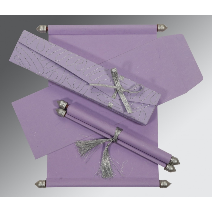 PINK PURPLE HANDMADE SILK WEDDING CARD : ASC-5002O - A2zWeddingCards