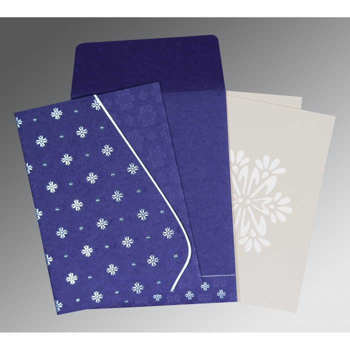 Purple Matte Floral Themed - Foil Stamped Wedding Invitations : AC-8237A - A2zWeddingCards