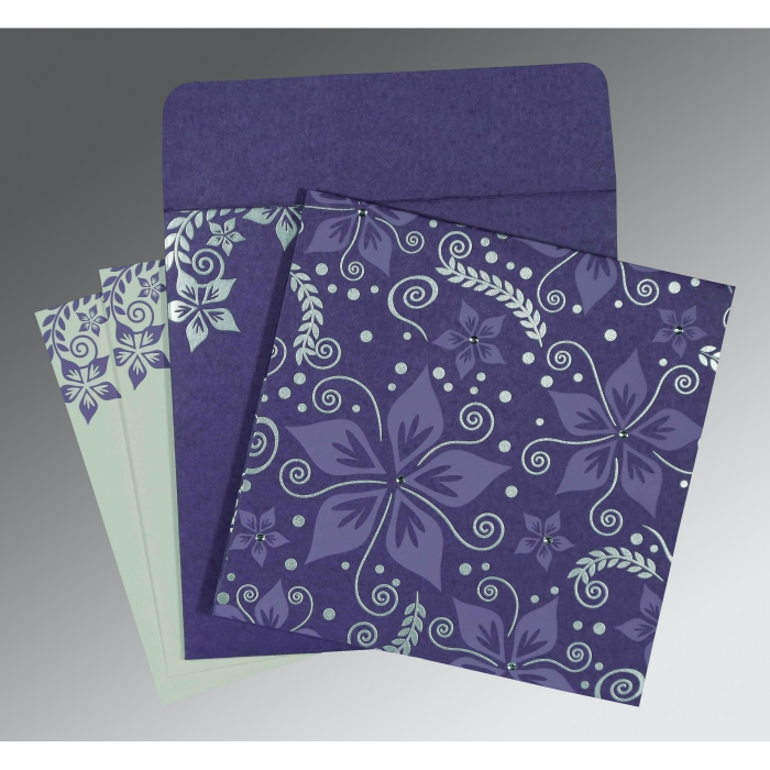 BLUE PURPLE MATTE FLORAL THEMED - SCREEN PRINTED WEDDING INVITATION : AD-8240B - A2zWeddingCards