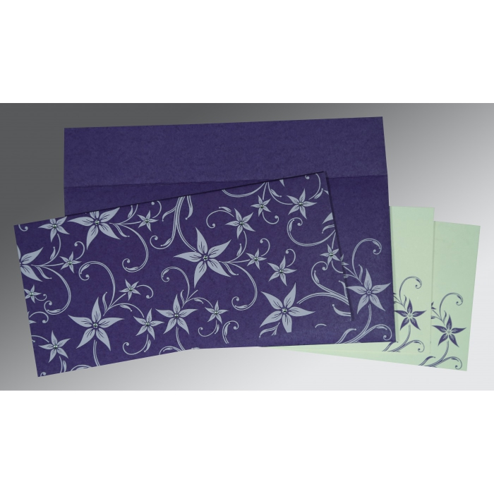 Purple Matte Floral Themed - Screen Printed Wedding Invitation : AIN-8225H - A2zWeddingCards