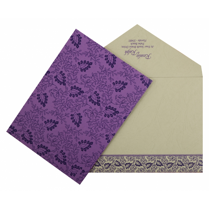 Purple Matte Paisley Themed - Screen Printed Wedding Invitation : AI-811D - A2zWeddingCards