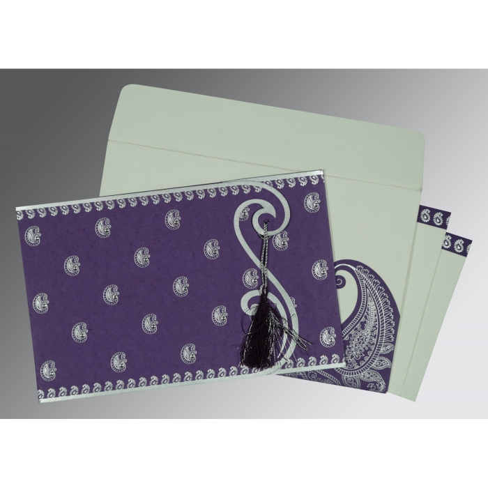 Purple Matte Paisley Themed - Screen Printed Wedding Invitations : AC-8252B - A2zWeddingCards
