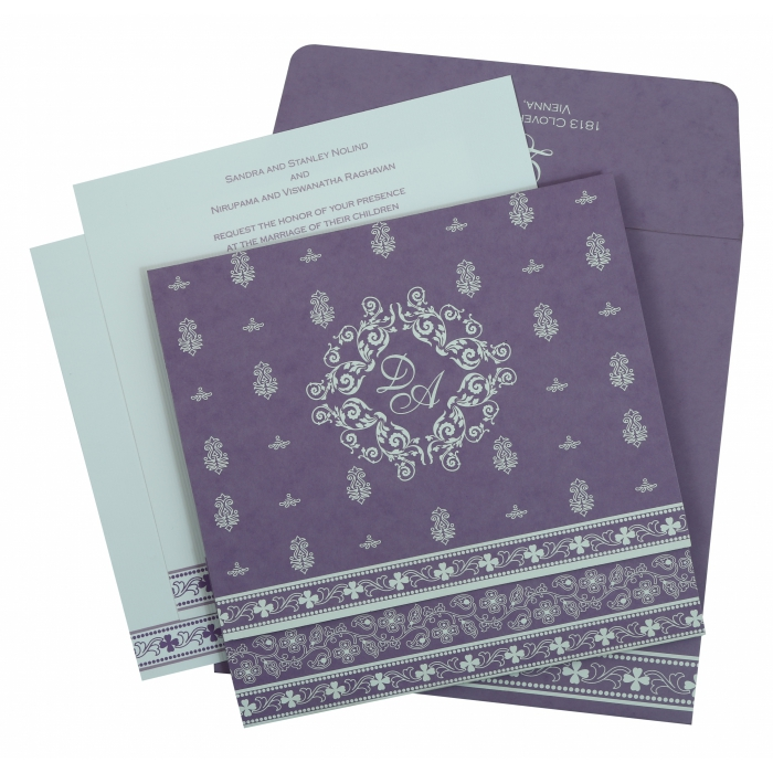 PURPLE MATTE SCREEN PRINTED WEDDING INVITATION : AIN-808E - A2zWeddingCards