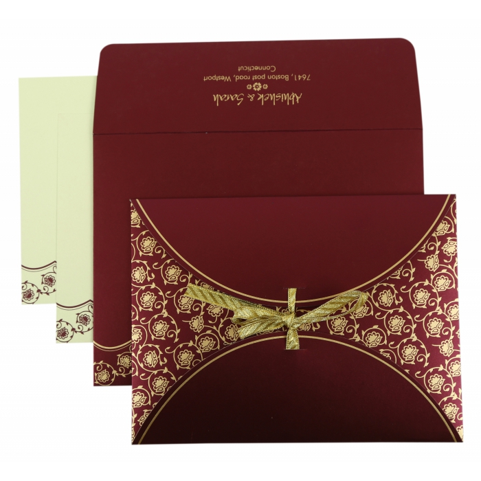 PURPLE SHIMMERY BUTTERFLY THEMED - SCREEN PRINTED WEDDING INVITATION : AS-821A - A2zWeddingCards