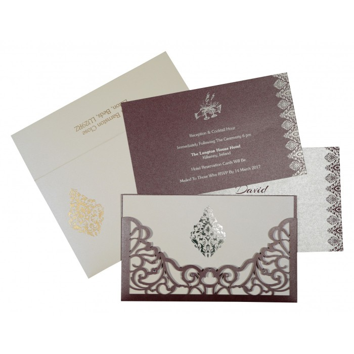 DESATURATED PINK SHIMMERY DAMASK THEMED - LASER CUT WEDDING CARD : AD-8262B - A2zWeddingCards