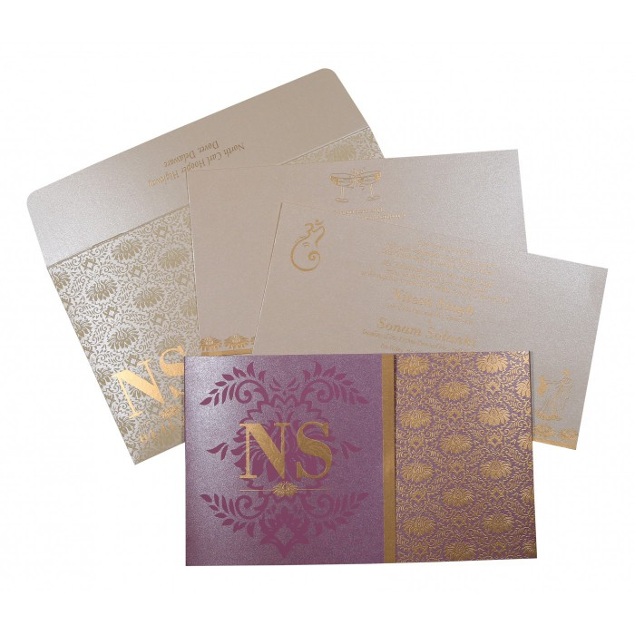 Purple Shimmery Damask Themed - Screen Printed Wedding Invitation : AIN-8261A - A2zWeddingCards