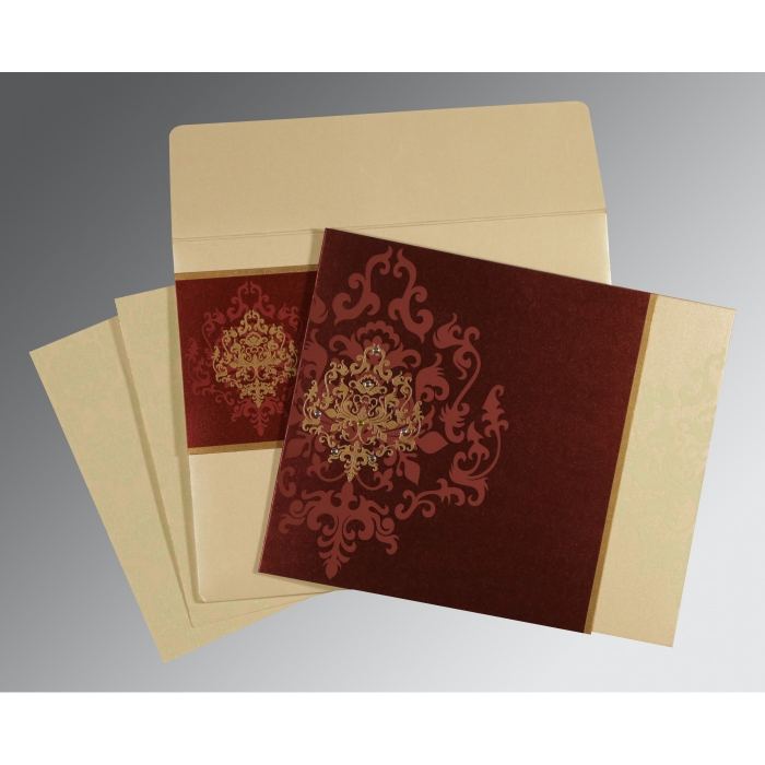 DERBY BROWN SHIMMERY DAMASK THEMED - SCREEN PRINTED WEDDING CARD : ARU-8253F - A2zWeddingCards